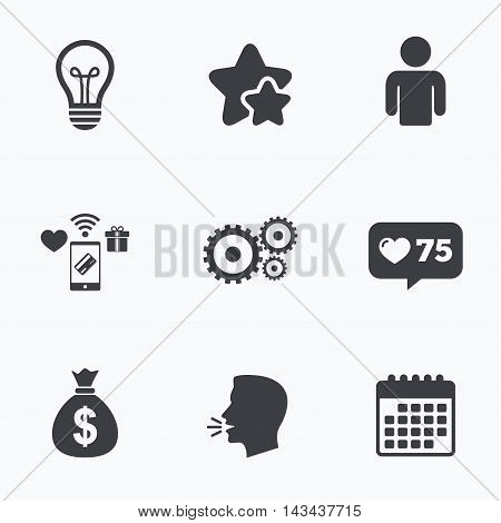 Business icons. Human silhouette and lamp bulb idea signs. Dollar money bag and gear symbols. Flat talking head, calendar icons. Stars, like counter icons. Vector