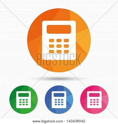 Calculator sign icon. Bookkeeping symbol. Triangular low poly button with flat icon. Vector
