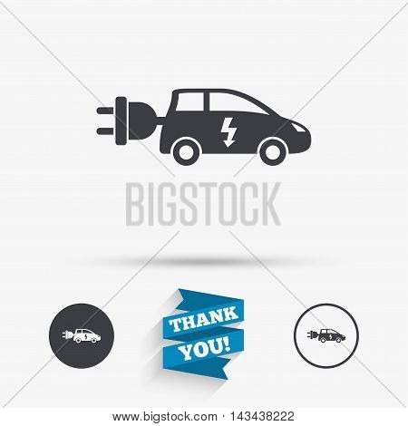 Electric car sign icon. Hatchback symbol. Electric vehicle transport. Flat icons. Buttons with icons. Thank you ribbon. Vector