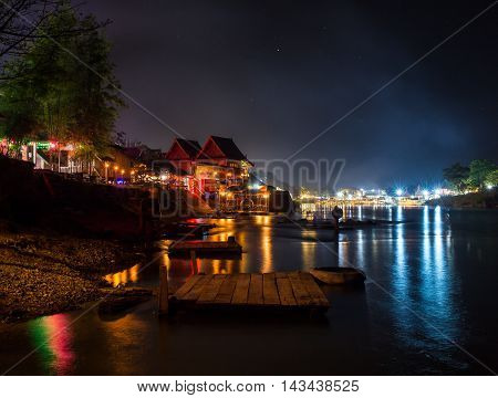 Tropical beach at night time. Long exposure shot. HDR processed.