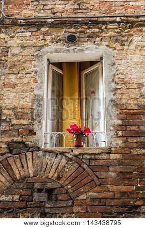 Red Flowers At A Window In Tuscany