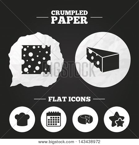Crumpled paper speech bubble. Cheese icons. Round cheese wheel sign. Sliced food with chief hat symbols. Paper button. Vector