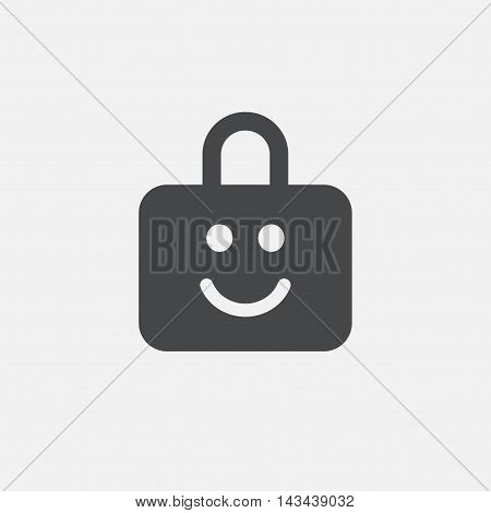 Child lock icon. Locker with smile symbol. Child protection. Flat icon on white background. Vector