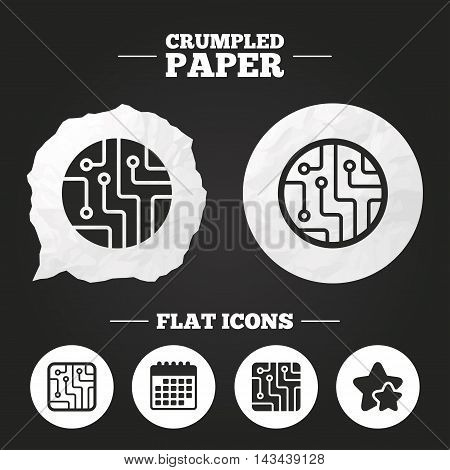 Crumpled paper speech bubble. Circuit board icons. Technology scheme circles and squares sign symbols. Paper button. Vector