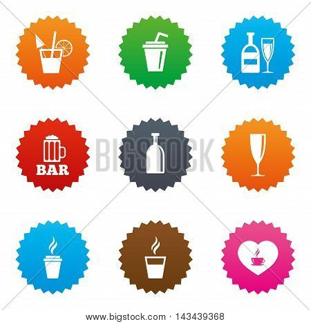 Beer, coffee and tea icons. Beer, wine and cocktail signs. Soft and alcohol drinks symbols. Stars label button with flat icons. Vector