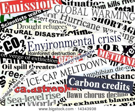 Editable vector illustration of newspaper headlines on an environmental theme