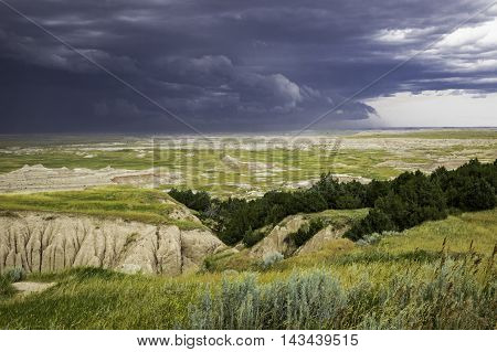 Storm Clouds over the Badlands of south Dakota