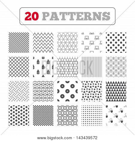 Ornament patterns, diagonal stripes and stars. Notebook pc and Usb flash drive stick icons. Computer mouse and CD or DVD sign symbols. Geometric textures. Vector
