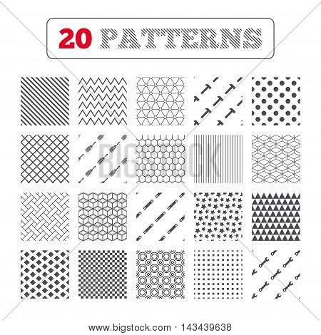 Ornament patterns, diagonal stripes and stars. Screwdriver and wrench key tool icons. Bubble level and hammer sign symbols. Geometric textures. Vector
