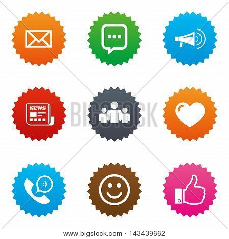 Mail, news icons. Conference, like and group signs. E-mail, chat message and phone call symbols. Stars label button with flat icons. Vector