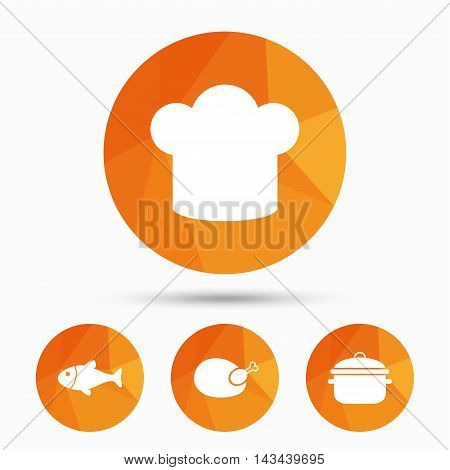 Chief hat and cooking pan icons. Fish and chicken signs. Boil or stew food symbol. Triangular low poly buttons with shadow. Vector