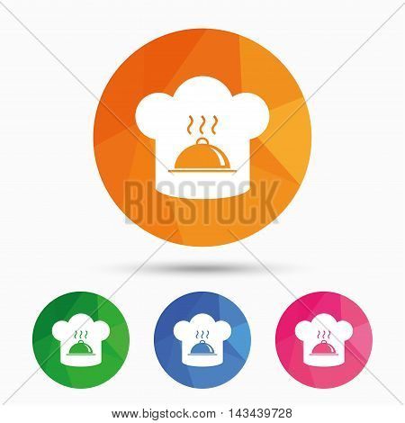 Chef hat sign icon. Cooking symbol. Cooks hat with hot dish. Triangular low poly button with flat icon. Vector