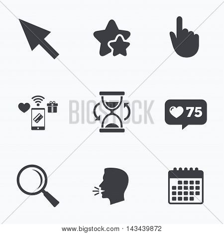 Mouse cursor and hand pointer icons. Hourglass and magnifier glass navigation sign symbols. Flat talking head, calendar icons. Stars, like counter icons. Vector