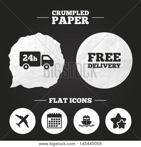Crumpled paper speech bubble. Cargo truck and shipping icons. Shipping and free delivery signs. Transport symbols. 24h service. Paper button. Vector