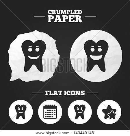 Crumpled paper speech bubble. Tooth happy, sad and crying faces icons. Dental care signs. Healthy or unhealthy teeth symbols. Paper button. Vector