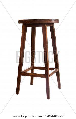 Wooden stool isolated on white background, stock photo