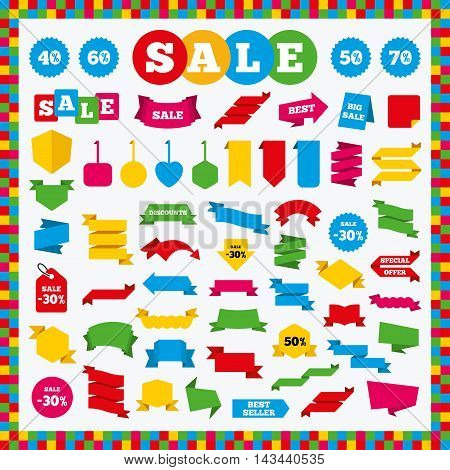 Banners, sale stickers and labels. Discount icons. Special offer price signs. 40, 50, 60 and 70 percent off reduction symbols. Price tags. Vector