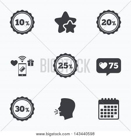 Sale discount icons. Special offer stamp price signs. 10, 20, 25 and 30 percent off reduction symbols. Flat talking head, calendar icons. Stars, like counter icons. Vector