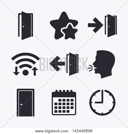 Doors icons. Emergency exit with arrow symbols. Fire exit signs. Wifi internet, favorite stars, calendar and clock. Talking head. Vector