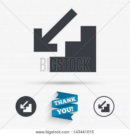 Downstairs icon. Down arrow sign. Flat icons. Buttons with icons. Thank you ribbon. Vector