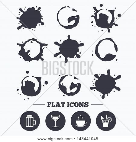 Paint, coffee or milk splash blots. Drinks icons. Coffee cup and glass of beer symbols. Wine glass and cocktail signs. Smudges splashes drops. Vector
