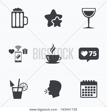Drinks icons. Coffee cup and glass of beer symbols. Wine glass and cocktail signs. Flat talking head, calendar icons. Stars, like counter icons. Vector