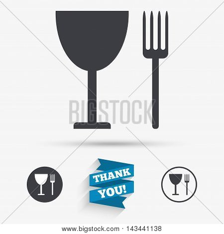 Eat sign icon. Cutlery symbol. Fork and wineglass. Flat icons. Buttons with icons. Thank you ribbon. Vector