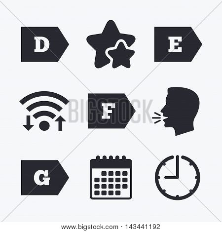 Energy efficiency class icons. Energy consumption sign symbols. Class D, E, F and G. Wifi internet, favorite stars, calendar and clock. Talking head. Vector