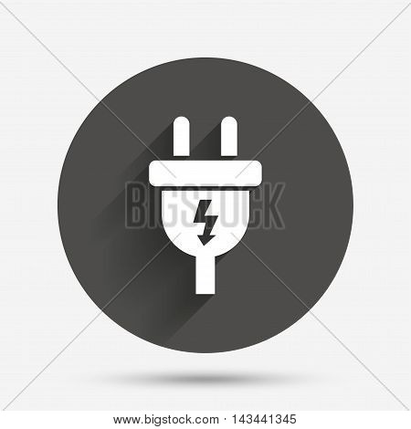 Electric plug sign icon. Power energy symbol. Lightning sign. Circle flat button with shadow. Vector