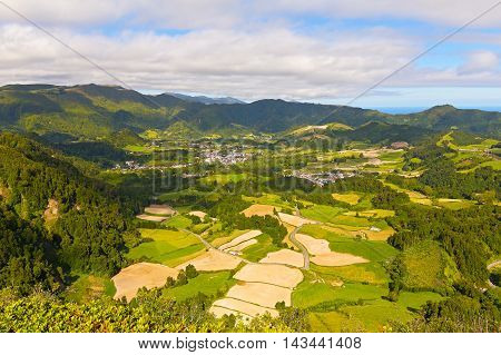 Aerial view on Sao Miguel island near Furnas Azores Portugal. Agricultural area of volcanic island in Atlantic Ocean near Portugal.