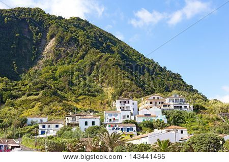 Ribeira Quente village near Fogo beach on Sao Miguel Island in Azores Portugal. The village located in a seismic area at the foot of Pico dos Bodes the highest point of the area.