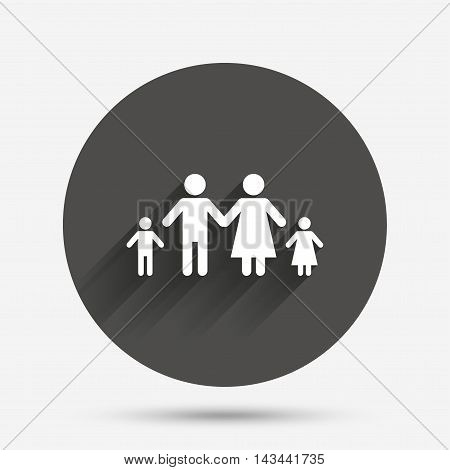 Family with two children sign icon. Complete family symbol. Circle flat button with shadow. Vector