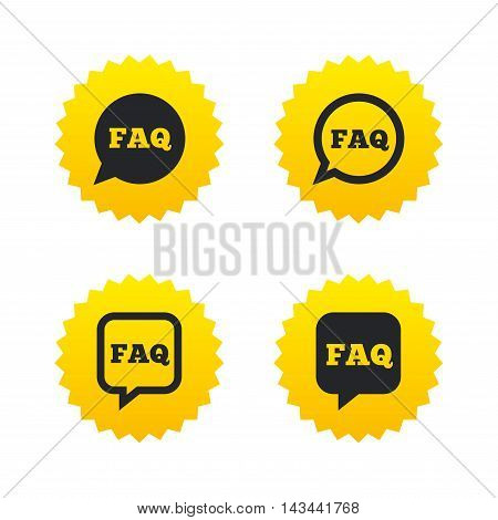 FAQ information icons. Help speech bubbles symbols. Circle and square talk signs. Yellow stars labels with flat icons. Vector