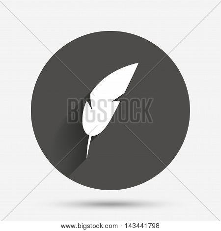 Feather sign icon. Retro pen symbol. Light weight symbol. Circle flat button with shadow. Vector