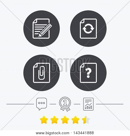 File refresh icons. Question help and pencil edit symbols. Paper clip attach sign. Chat, award medal and report linear icons. Star vote ranking. Vector