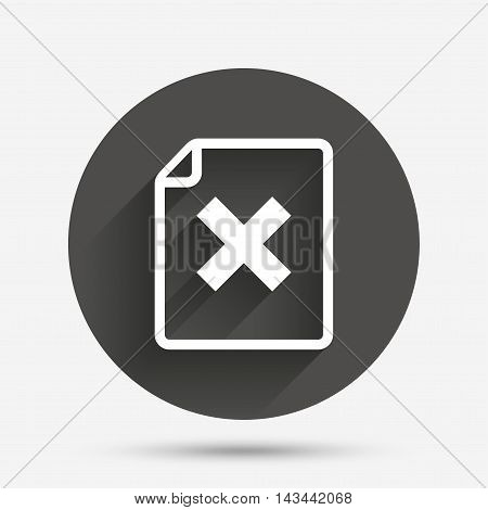 File document stop icon. Delete doc button. Remove file symbol. Circle flat button with shadow. Vector