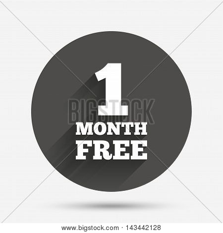 First month free sign icon. Special offer symbol. Circle flat button with shadow. Vector