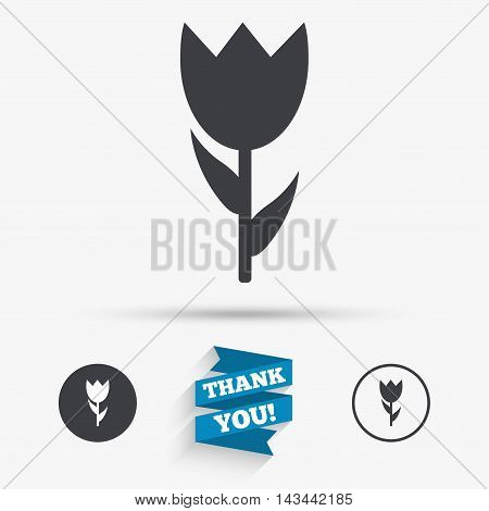 Flower sign icon. Rose symbol. Macro. Flat icons. Buttons with icons. Thank you ribbon. Vector