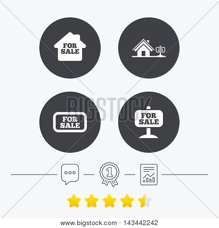 For sale icons. Real estate selling signs. Home house symbol. Chat, award medal and report linear icons. Star vote ranking. Vector