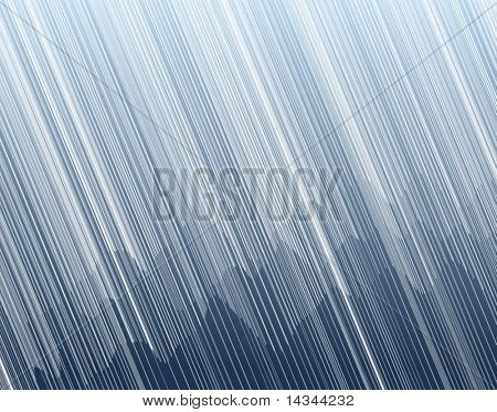 Editable vector illustration of torrential rain in a mountain landscape