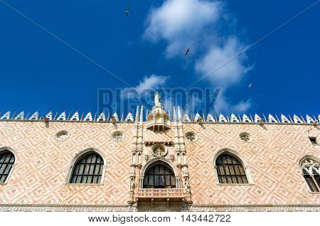 Architectural Detail Of Facade Of Doge Palace.  Venice, Italy