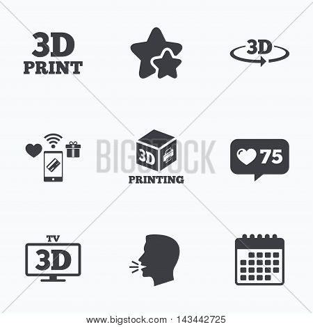 3d technology icons. Printer, rotation arrow sign symbols. Print cube. Flat talking head, calendar icons. Stars, like counter icons. Vector