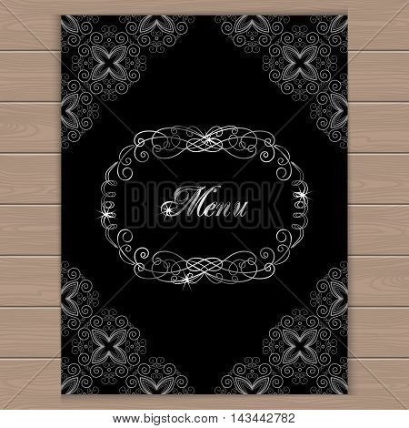 Menu cover with calligraphy frame in retro style. Vector illustration