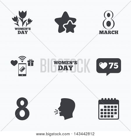 8 March Women's Day icons. Tulips or rose flowers bouquet sign symbols. Flat talking head, calendar icons. Stars, like counter icons. Vector
