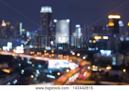 Urban blurred lights night view, abstract background