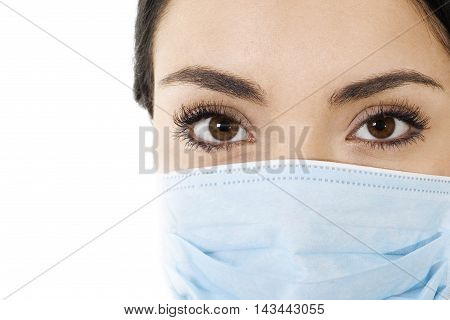 image of woman wearing mouth cover mask isolated on white closeup