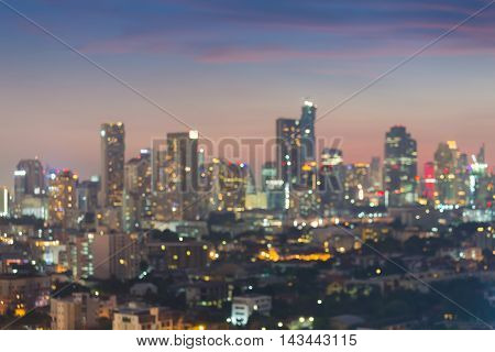 Twilight, Blurred bokeh lights city office building abstract background