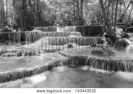 Black and White, Close up natural blue stream waterfalls, natural landscape