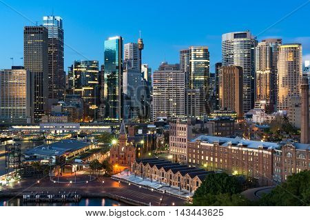 Central Business District skyscrapers on sunrise. Urban landscape view from above. Sydney Australia