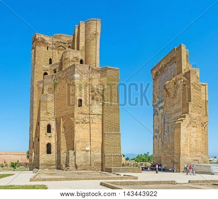 SHAKHRISABZ UZBEKISTAN - MAY 2 2015: Ak-Saray Palace is one of the most famous landmarks of Tamerlane period on May 2 in Shakhrisabz.